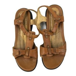 Clarks Structured Leather Sandals Light Brown 10